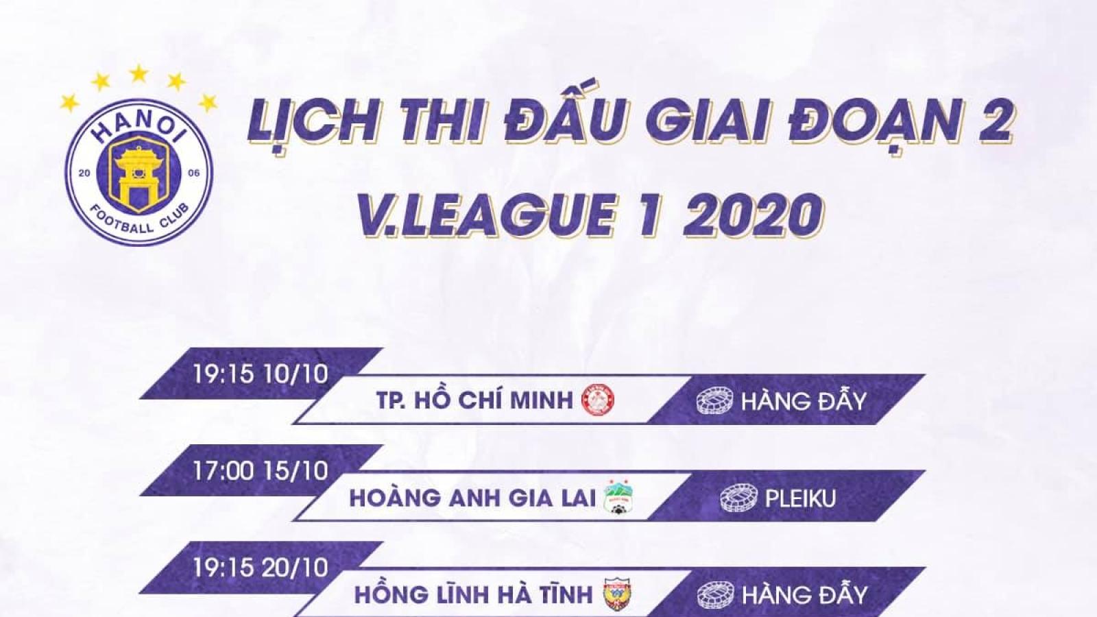 Hà Nội FC được hưởng lợi vì lịch thi đấu giai đoạn 2 V-Leguea 2020