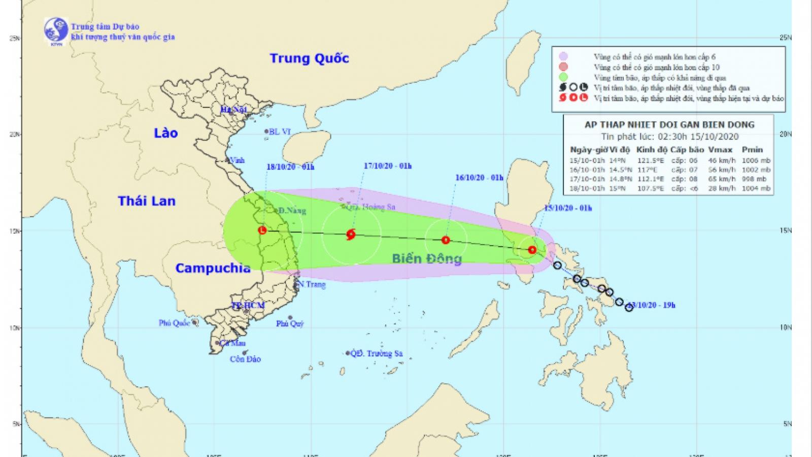 Áp thấp nhiệt đới di chuyển theo hướng Tây Tây Bắc, gió giật cấp 8