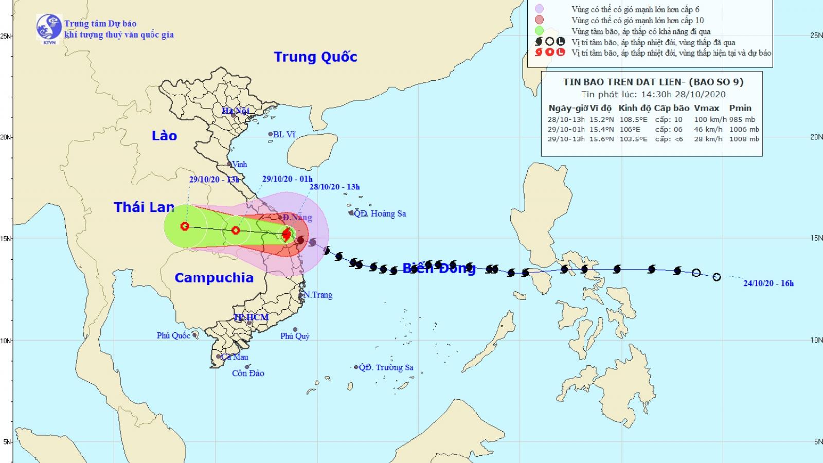 Bão số 9 gây mưa to từ Thừa Thiên Huế đến Phú Yên và Bắc Tây Nguyên