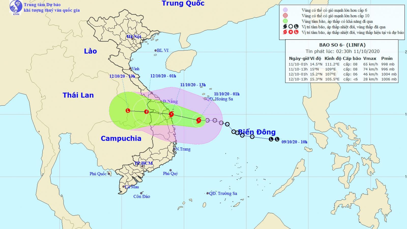 Áp thấp nhiệt đới mạnh lên thành bão số 6, giật cấp 10
