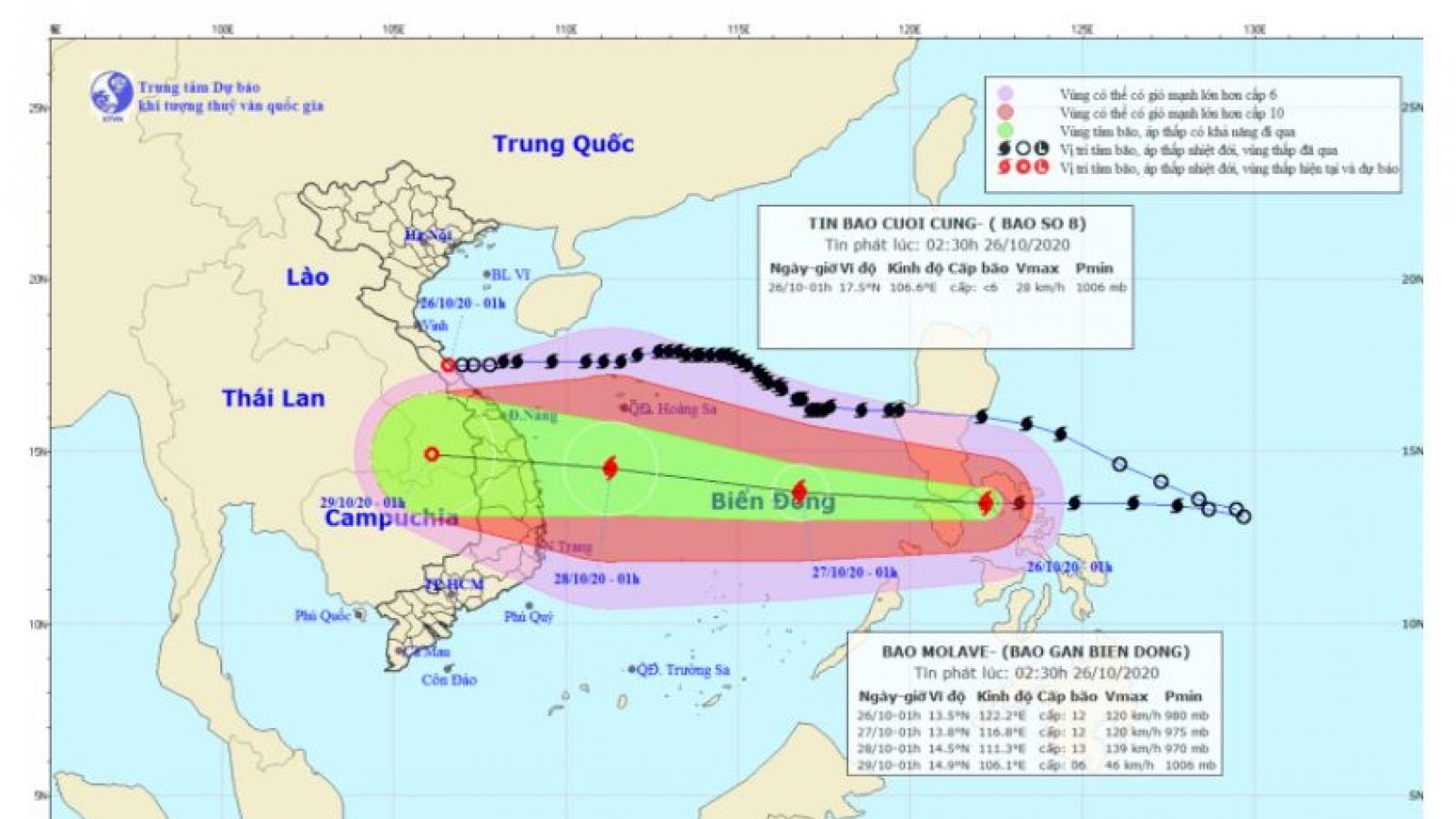 Bão số 8 suy yếu thành vùng áp thấp, Nghệ An và Quảng Trị tiếp tục có mưa