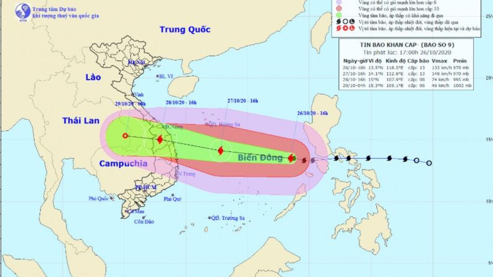 Bão số 9: Từ đêm mai, nhiều tỉnh miền Trung lại có mưa rất to