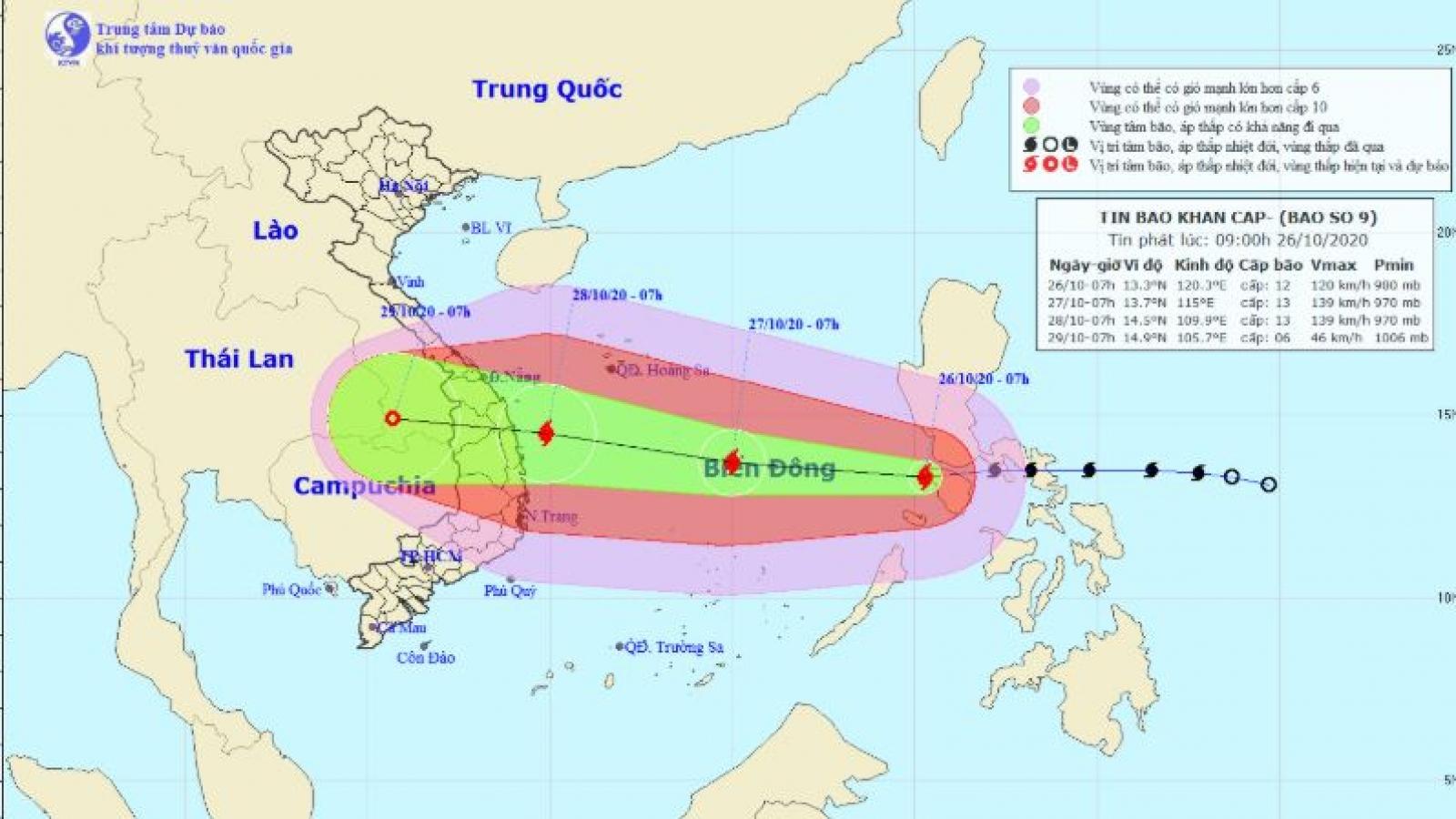 Bão số 9 vào biển Đông, dự báo sẽ vào vùng biển từ Đà Nẵng đến Phú Yên