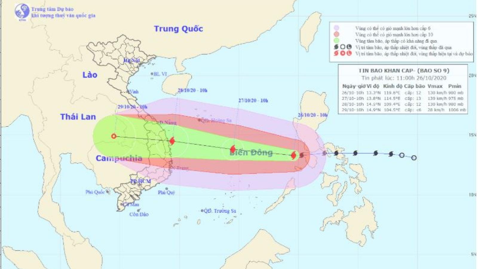 Bão số 9 sẽ đi vào đất liền các tỉnh từ Đã Nẵng đến Phú Yên rồi suy yếu