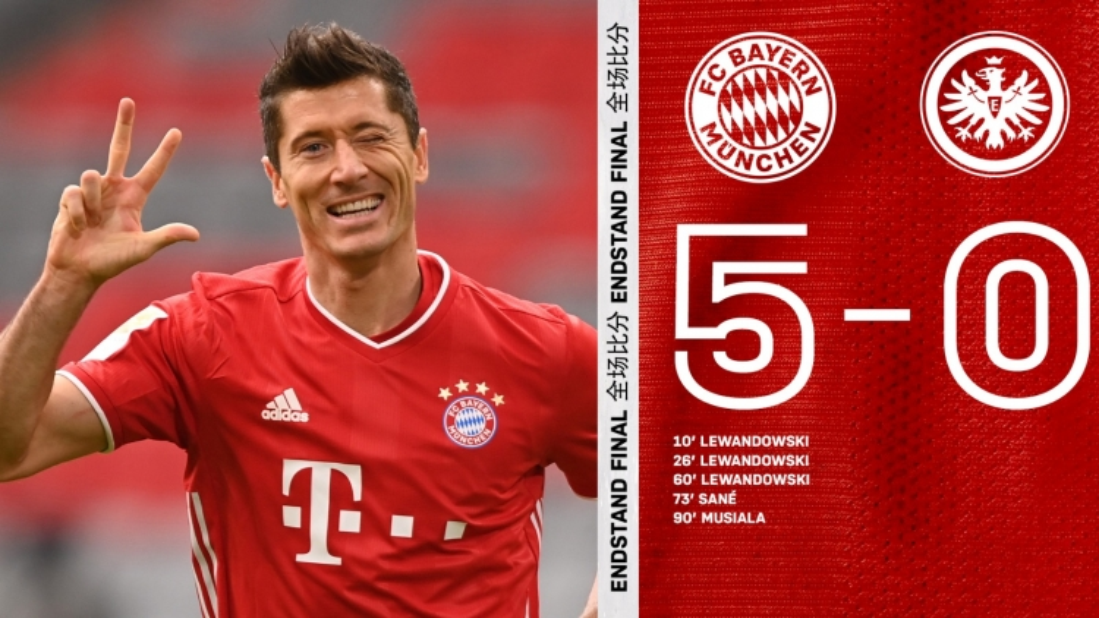 "Lewandowski lập hat-trick, Bayern Munich thắng ""5 sao"" trước Frankfurt"