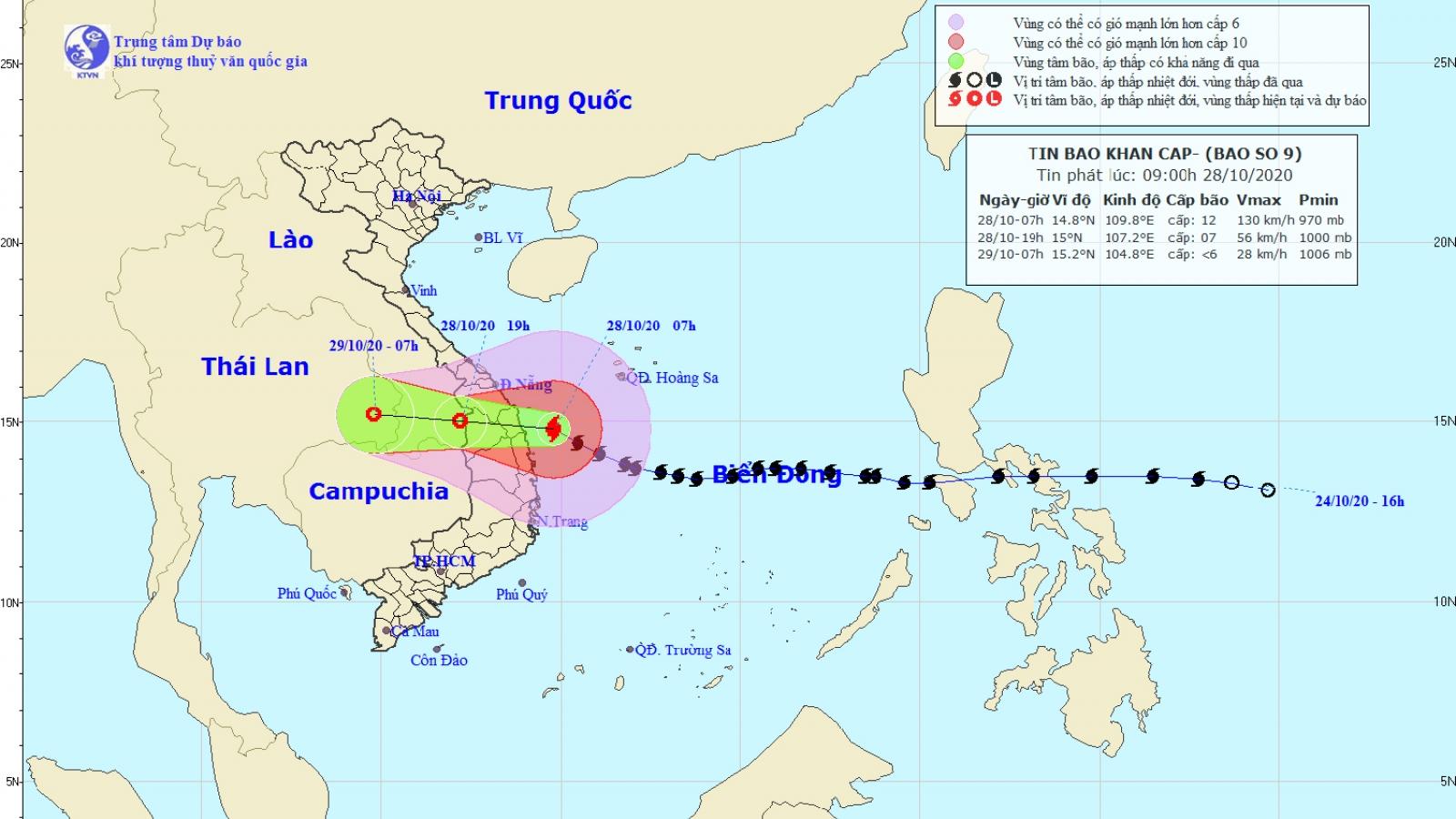 Bão số 9 đã giảm cấp khi đi vào vùng biển các tỉnh từ Quảng Nam đến Bình Định