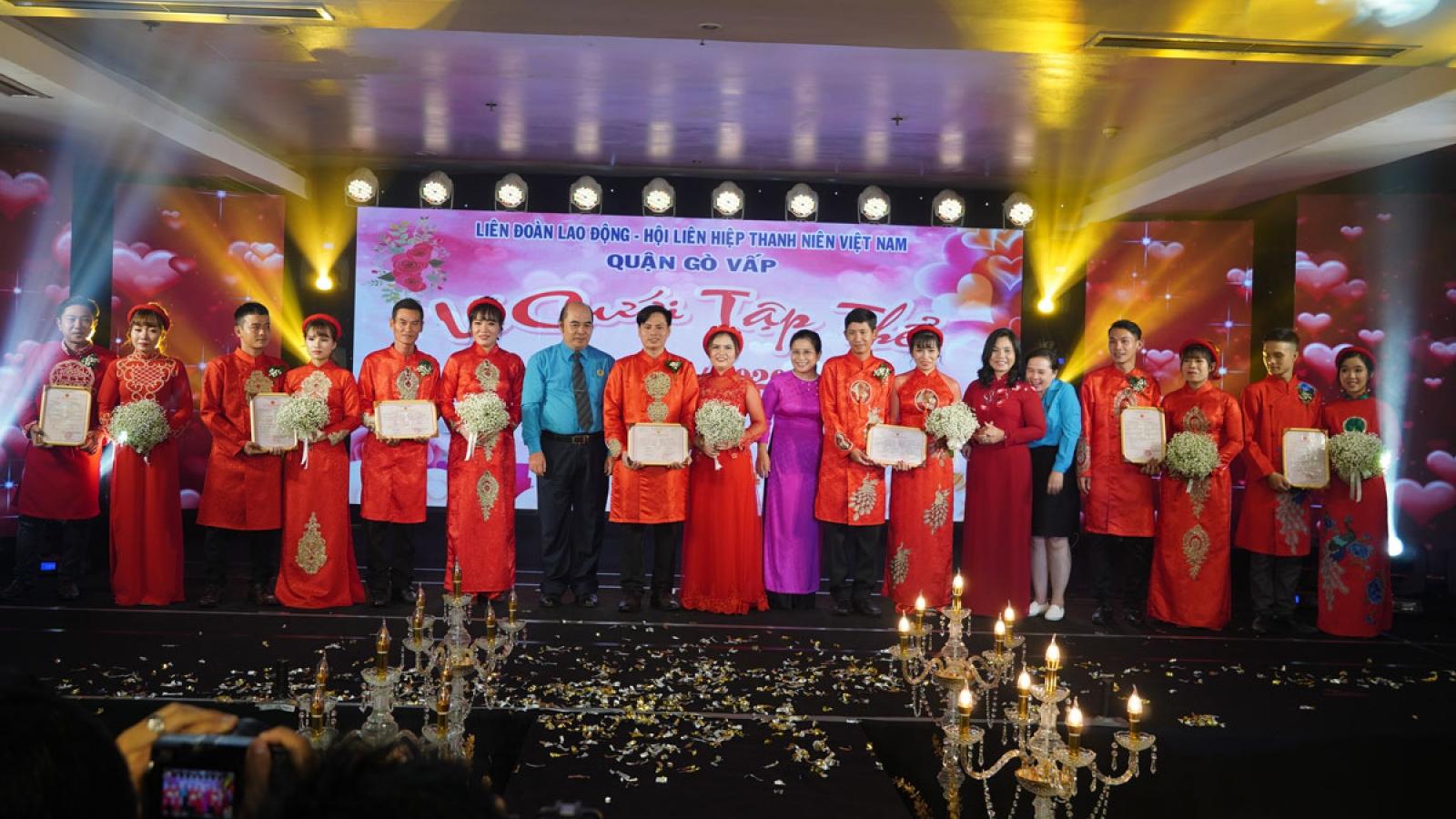 Xúc động lễ cưới tập thể 7 cặp đôi công nhân lao động