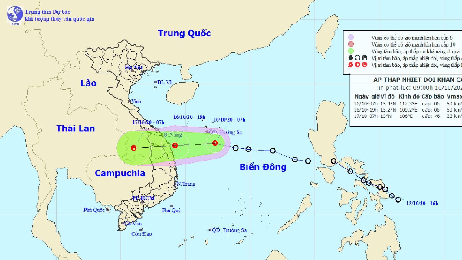 Chiều tối nay áp thấp nhiệt đới sẽ vào vùng biển từ Đà Nẵng đến Bình Định, giật cấp 8