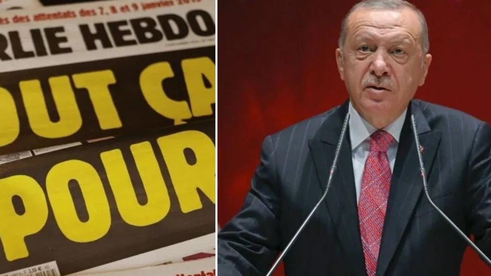 Pháp, Thổ Nhĩ Kỳ to tiếng về vụ biếm họa Tổng thống Erdogan