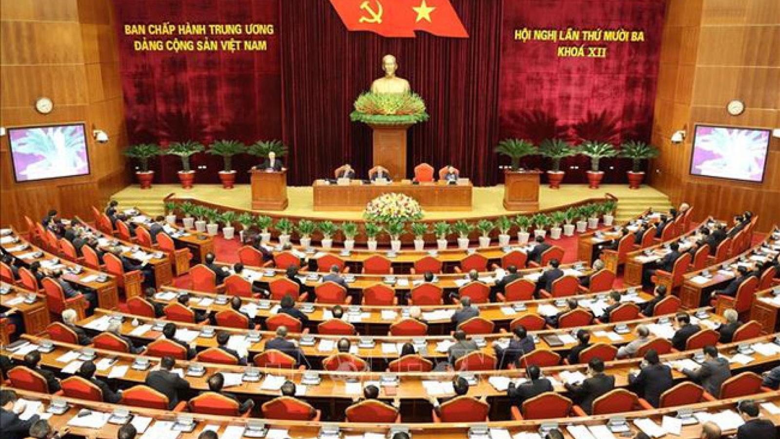 Ngày làm việc thứ nhất Hội nghị lần thứ 13Ban Chấp hành Trung ương Đảng khóaXII