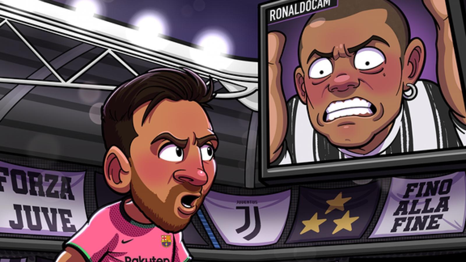 """Biếm họa 24h: Ronaldo cay đắng nhìn Messi """"bắn hạ"""" Juventus"""