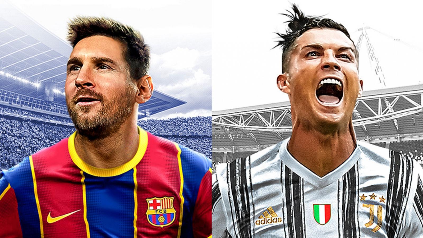 """VIDEO: Trận đấu nảy lửa giữa """"Đội hình 11 Messi"""" và """"Đội hình 11 Ronaldo"""" trong PES 2021"""