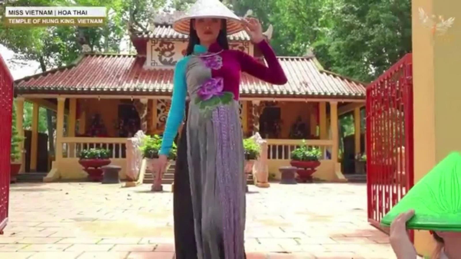 Thái Thị Hoa múa nón trong phần thi tài năng tại Miss Earth 2020