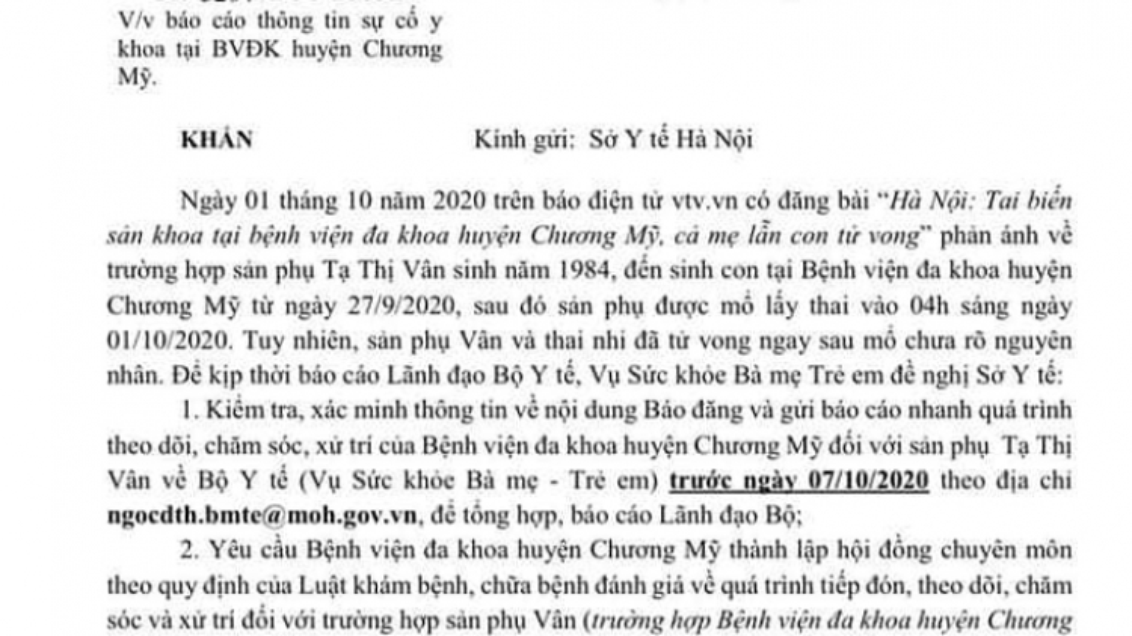 Bộ Y tế yêu cầu làm rõ vụ sản phụ và thai nhi tử vong ngay sau mổ ở Hà Nội