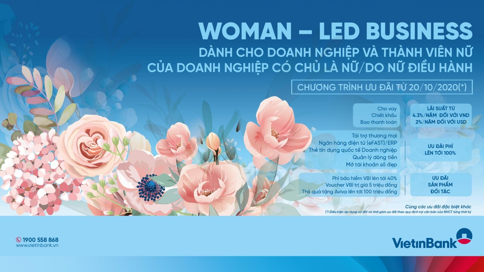 VietinBank ưu đãi đặc biệt dành tặng doanh nhân nữ và doanh nghiệp lãnh đạo là phụ nữ