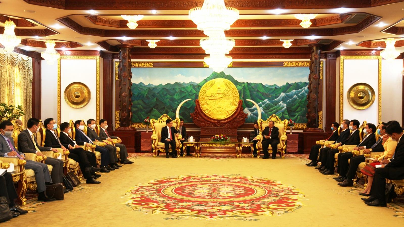 Phó Thủ tướng Phạm Bình Minhchào xã giao lãnh đạo Đảng, Nhà nước Lào