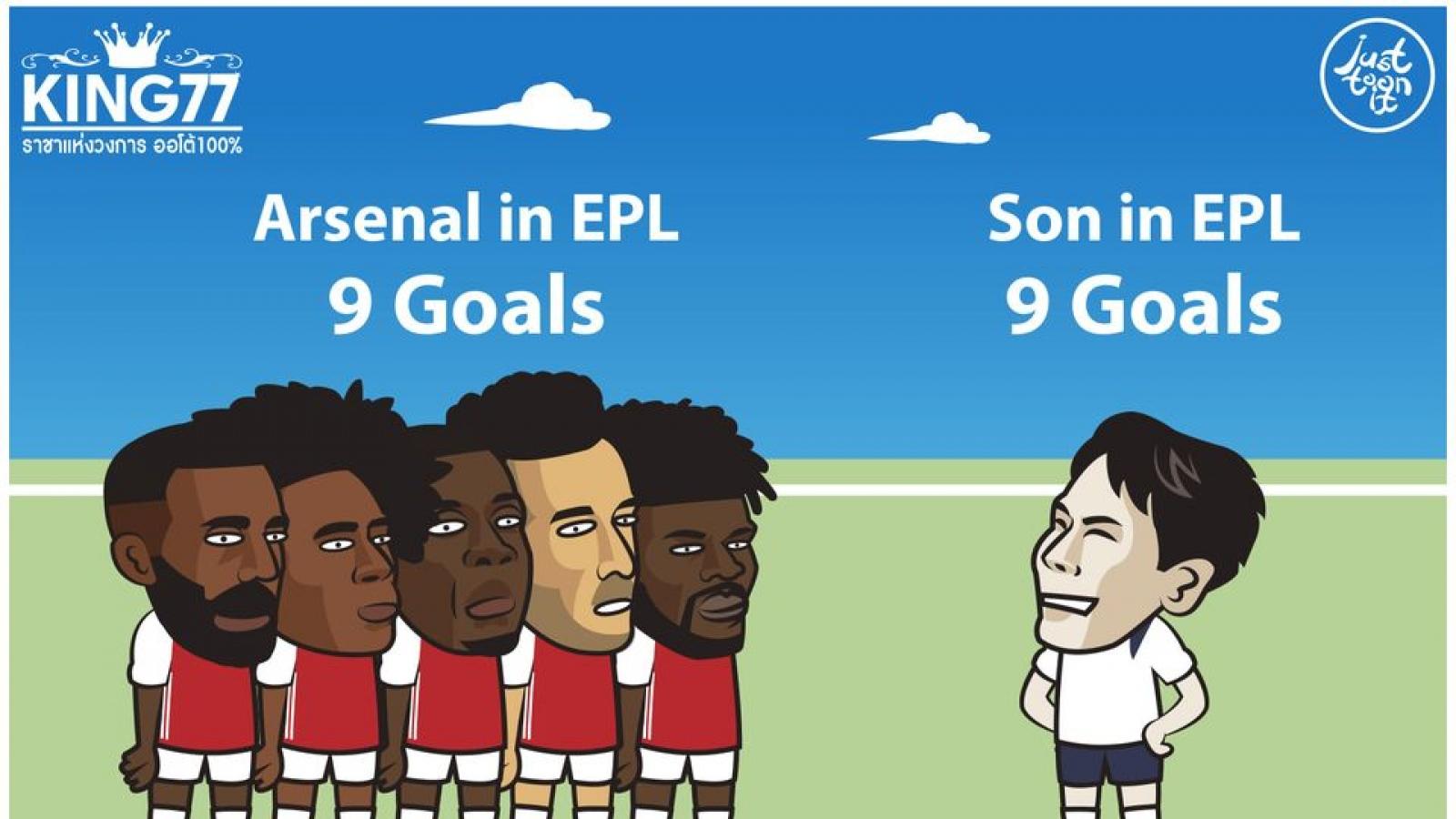 """Biếm họa 24h: Son Heung-min """"chấp"""" cả đội Arsenal"""