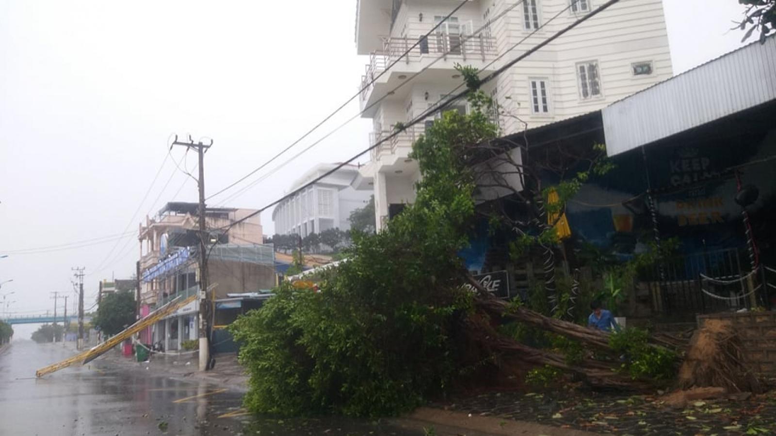 Khánh Hoà, Phú Yên mưa lớn gió giật mạnh, nhiều nơi mất điện
