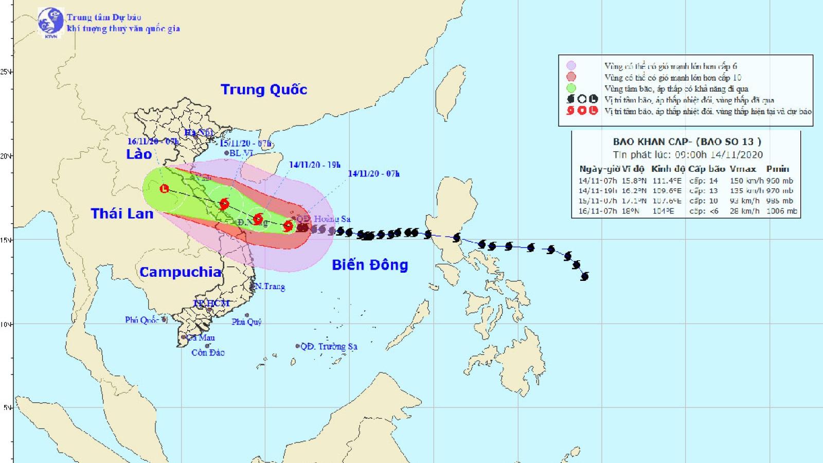 Bão số 13 gây mưa to đến rất to từ Nghệ An đến Quảng Nam