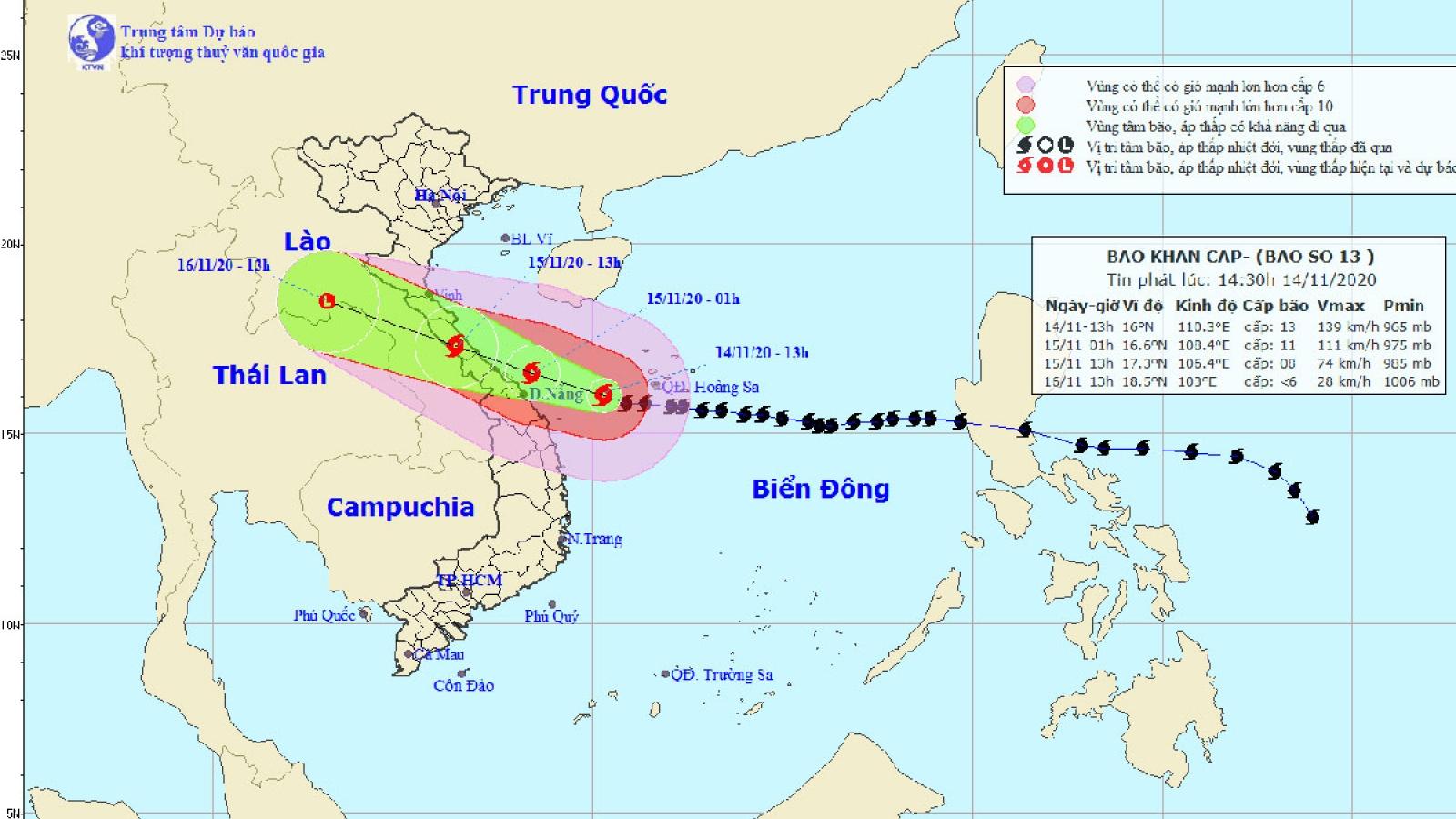 Cường độ bão số 13 giảm 1 cấp, cách Đà Nẵng 210km