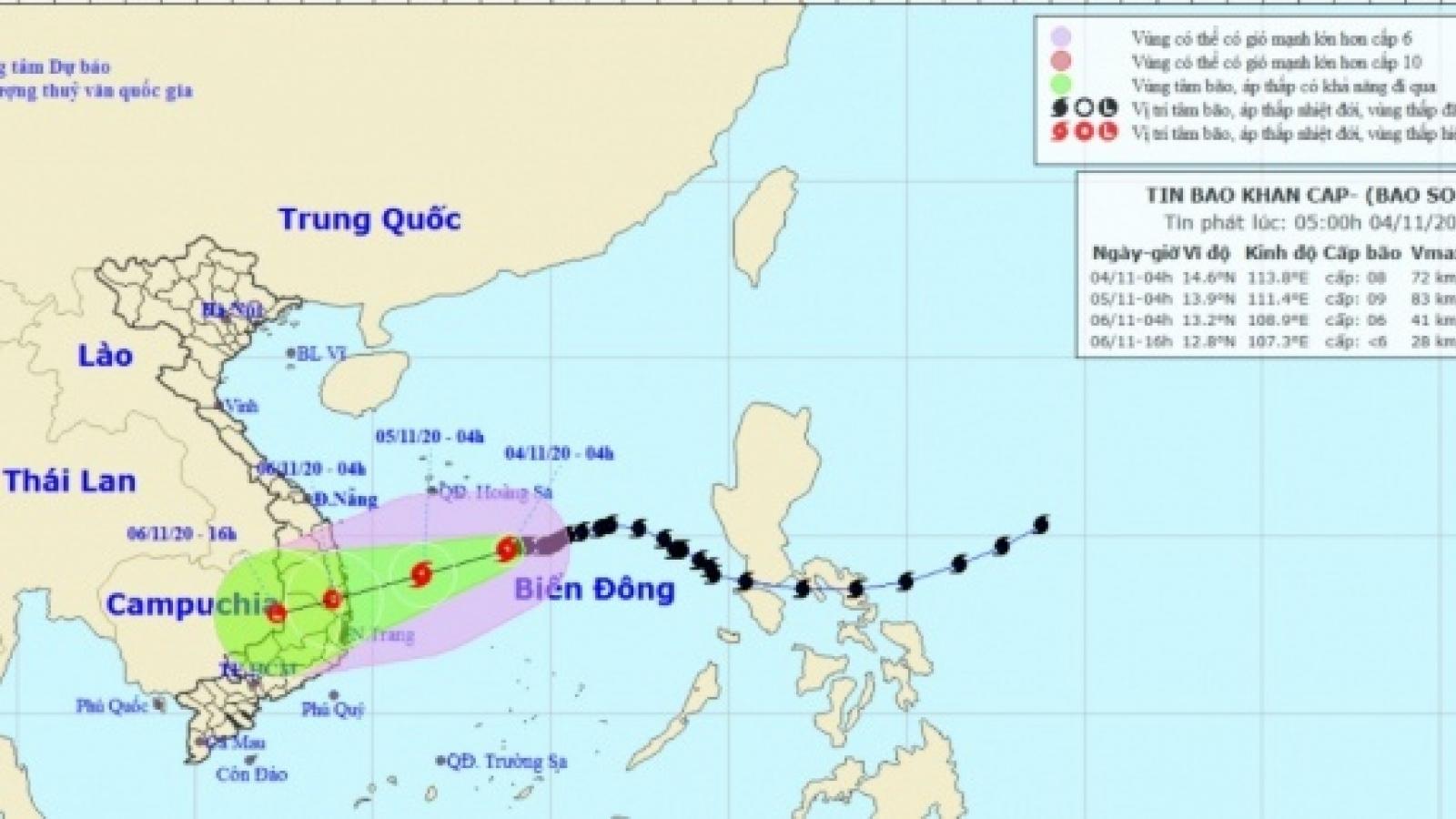 Bão số 10 cách Hoàng Sa khoảng 300km, hướng vào Quảng Ngãi - Khánh Hòa