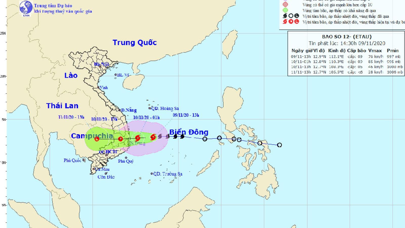 Bão số 12 đổ bộ vào đất liền từ Bình Định đến Ninh Thuận
