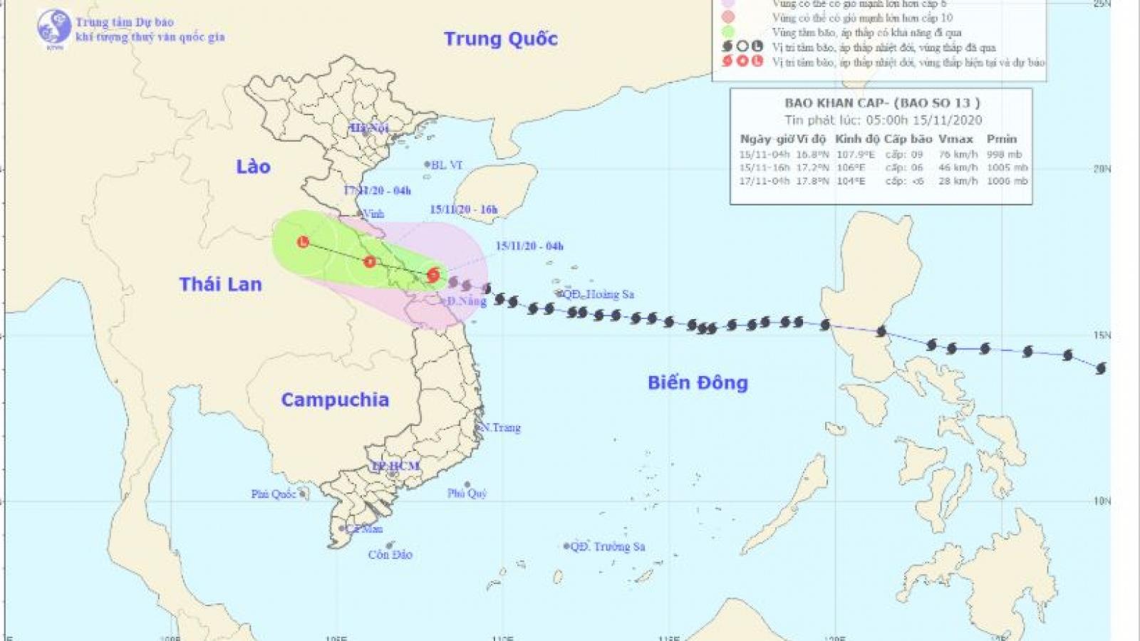 Bão số 13 đi vào các tỉnh từ Hà Tĩnh đến Thừa Thiên Huế gây mưa lớn