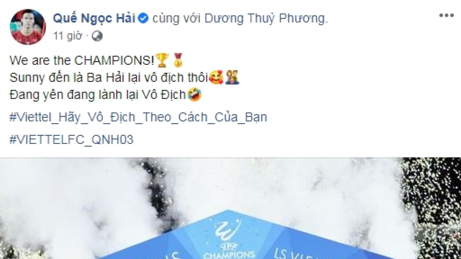 """Viettel vô địch V-League 2020, Lương """"dị"""" gửi lời chúc mừng tới Quế Ngọc Hải"""
