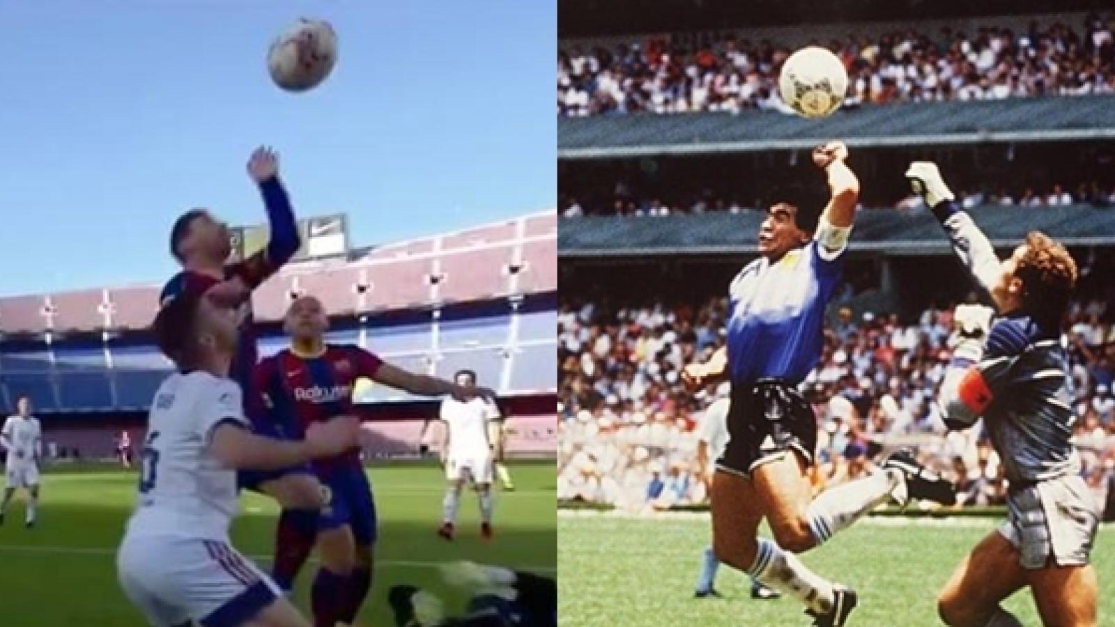 """Messi suýt tái hiện """"Bàn tay của Chúa"""" giống như Maradona"""