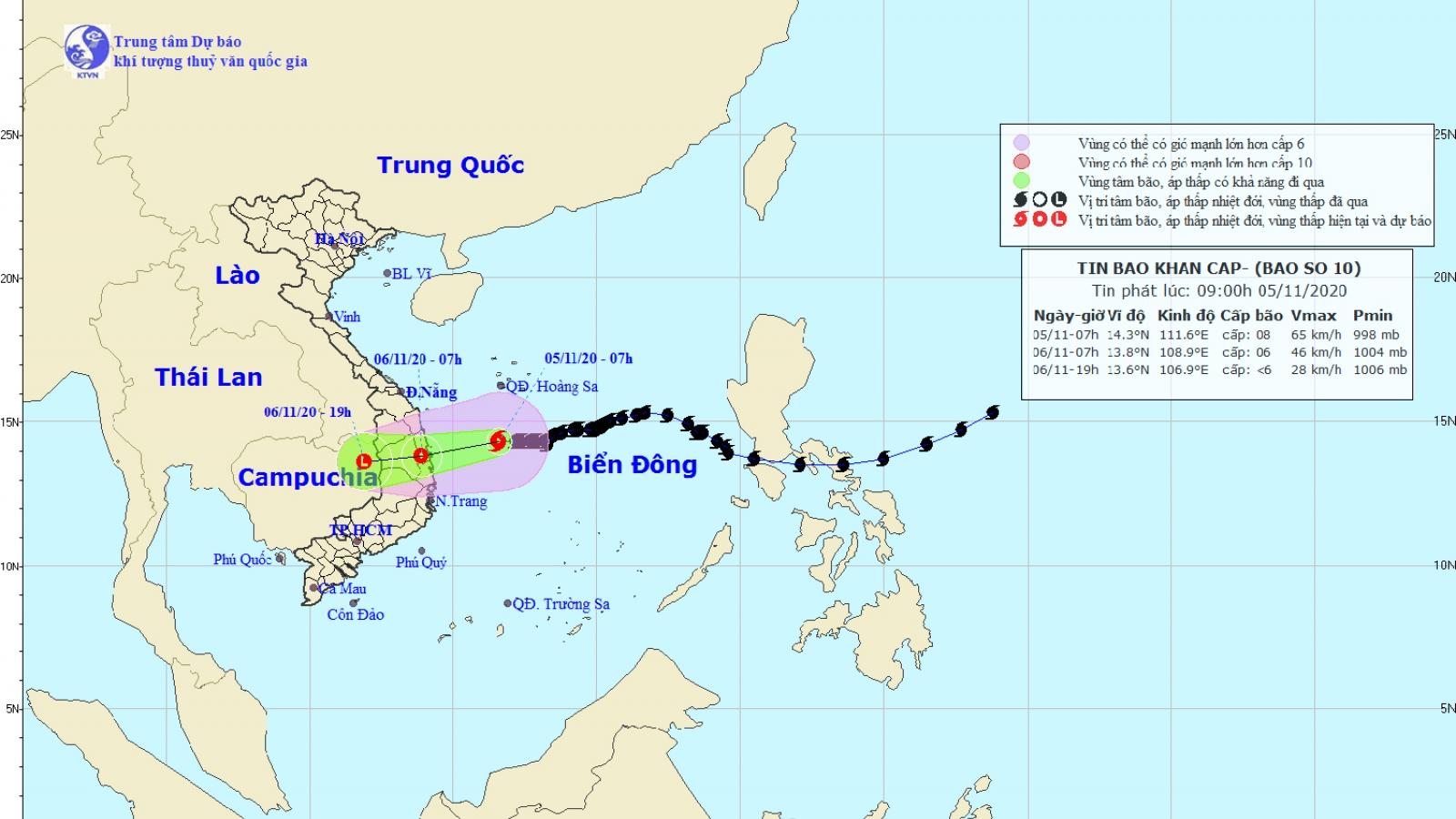 Bão số 10 sẽ suy yếu thành áp thấp nhiệt đới trước khi vào đất liền