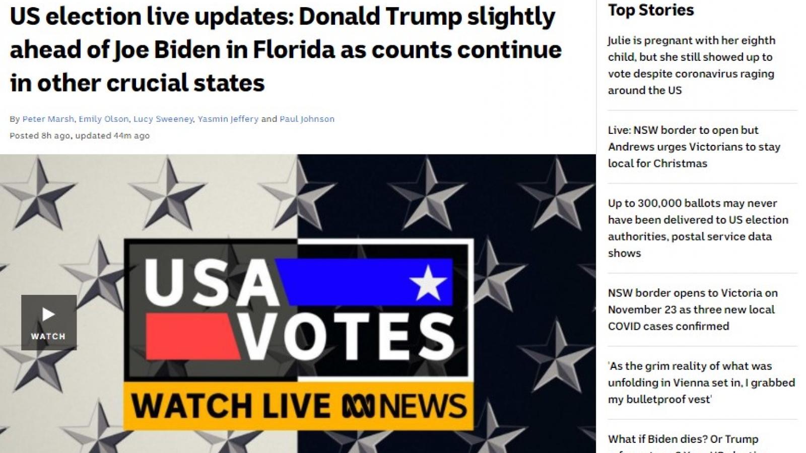 Dư luận Australia về cuộc bầu cử Tổng thống Mỹ
