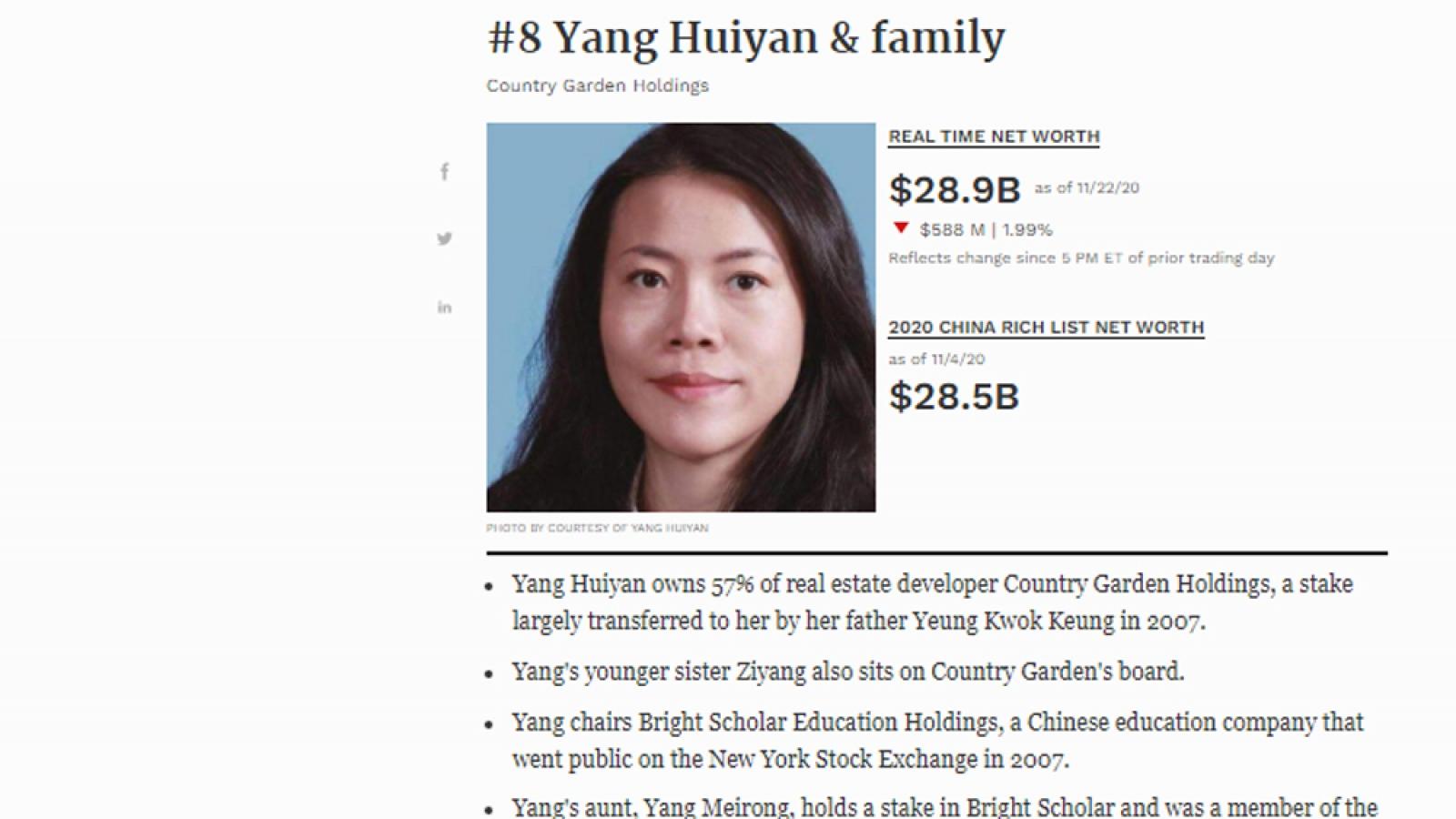 Người phụ nữ duy nhất có tên trong top 10 tỷ phú giàu nhất Trung Quốc là ai?