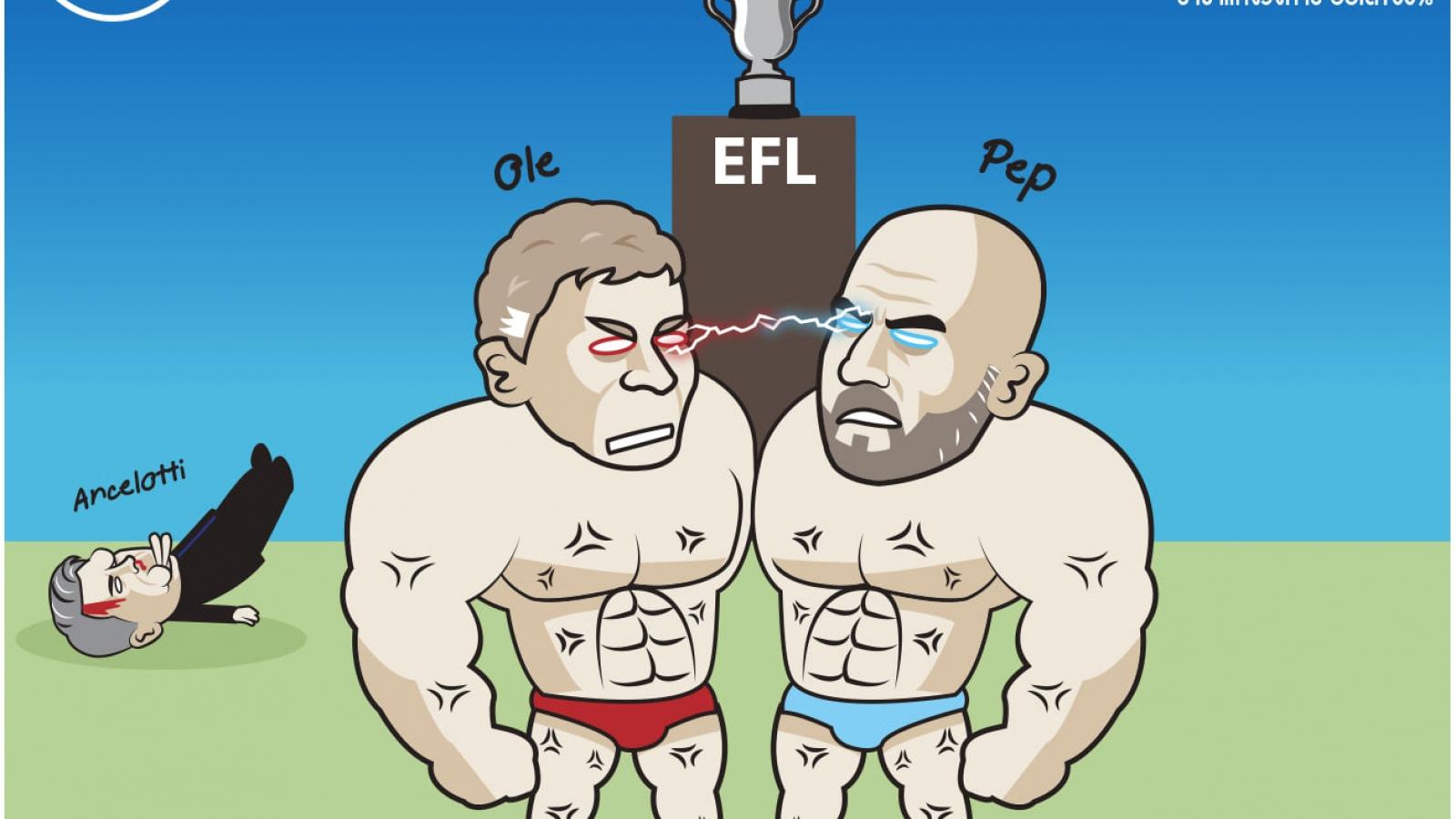 Biếm họa 24h: Solskjaer và Pep Guardiola khoe cơ bụng 6 múi