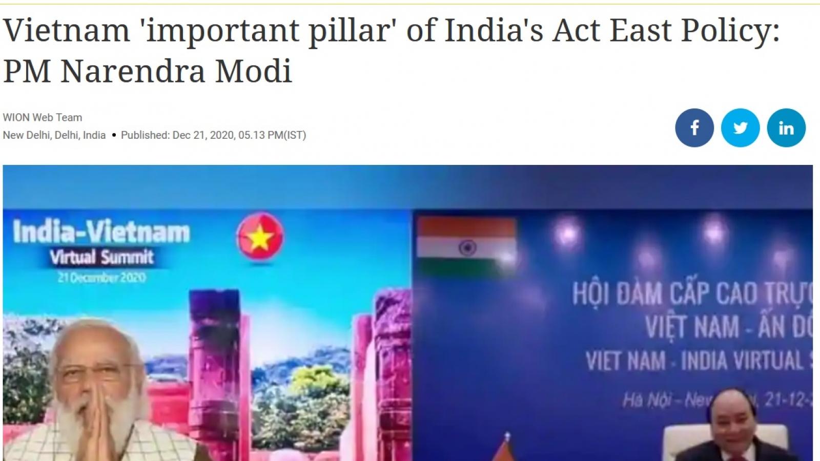 Báo Ấn Độ: Việt Nam là trụ cột trong Chính sách Hành động hướng Đông của Ấn Độ