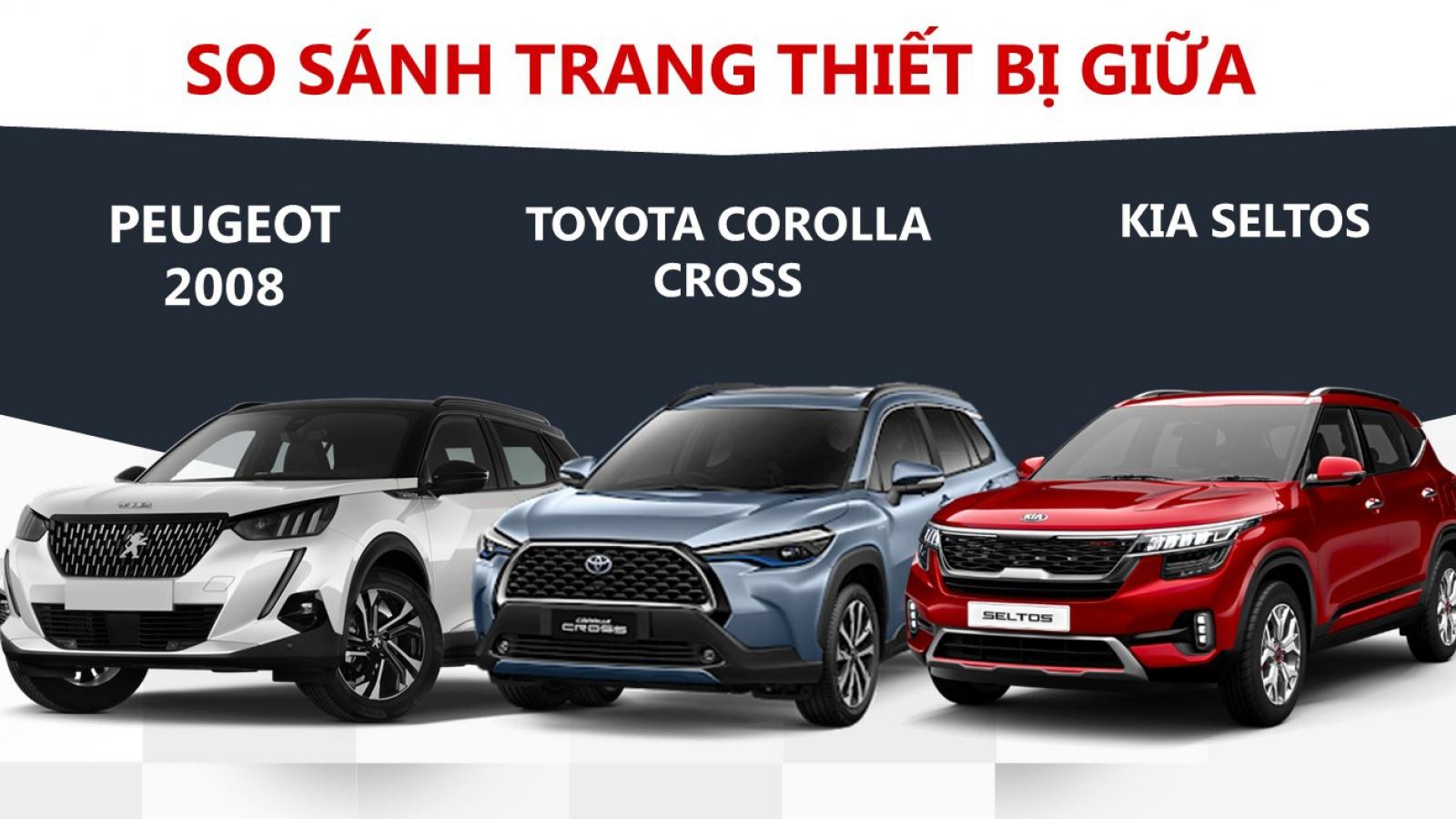 So sánh trang thiết bị của Peugeot 2008, Toyota Corolla Cross và Kia Seltos