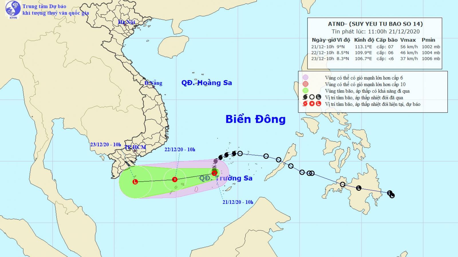 Bão 14 suy yếu thành áp thấp nhiệt đới, sức gió mạnh cấp 7