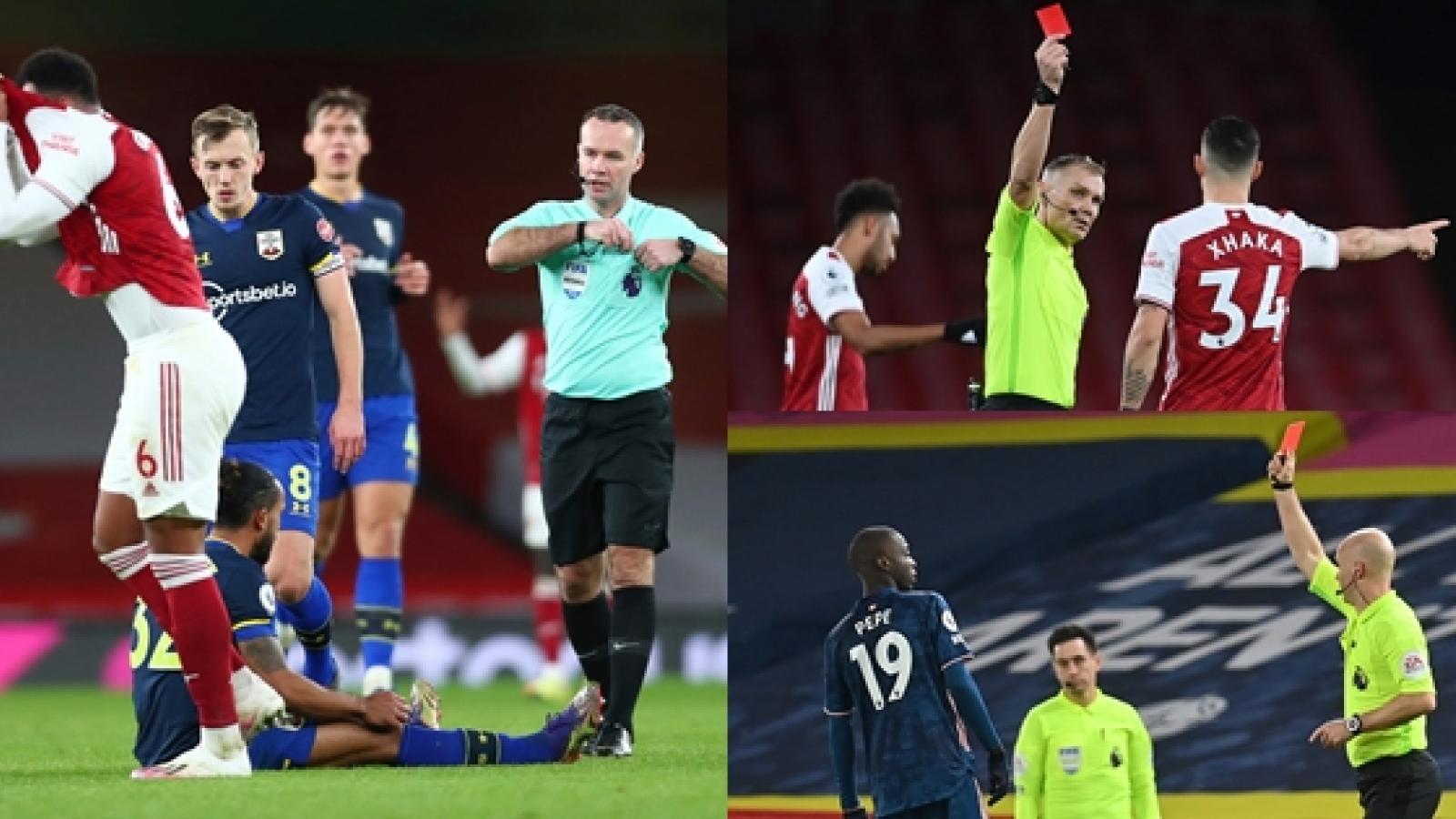 Arsenal lĩnh 3 thẻ đỏ trong vòng 5 trận tại Premier League