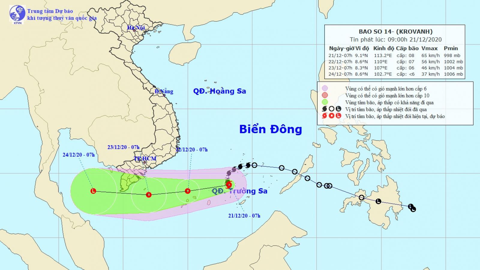 Bão số 14 sẽ suy yếu thành áp thấp nhiệt đới