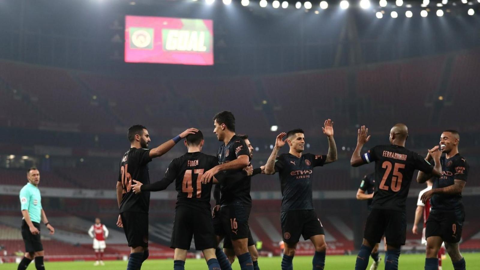 Thắng dễ Arsenal, Man City tiến vào bán kết Cúp Liên Đoàn Anh