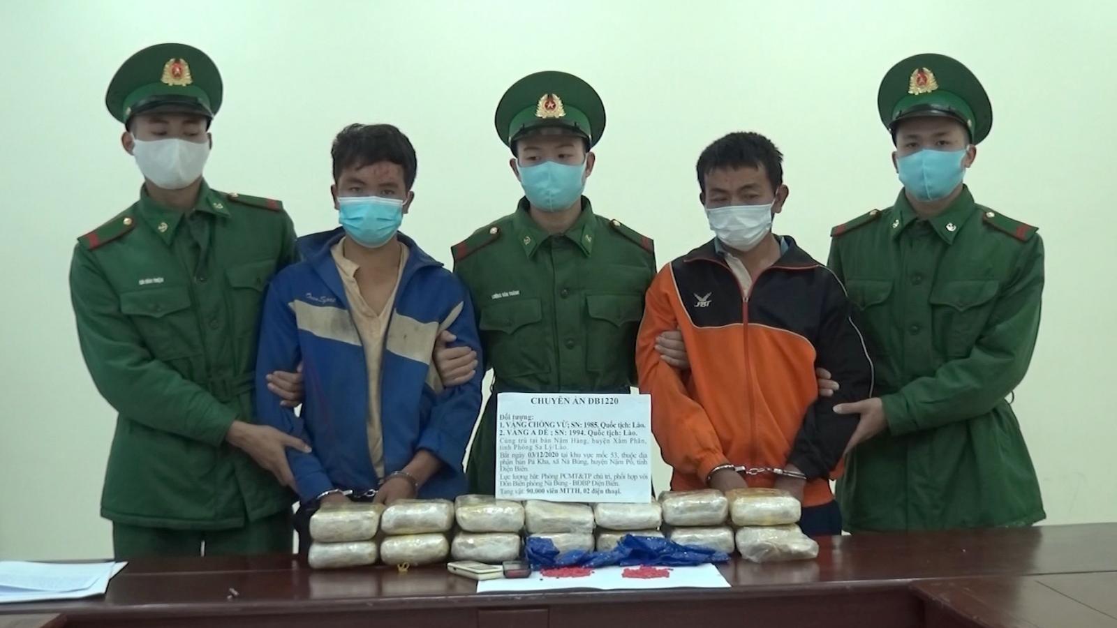 Điện Biên bắt 2 người Lào mua bán, vận chuyển trái phép 90.000 viên ma túy tổng hợp