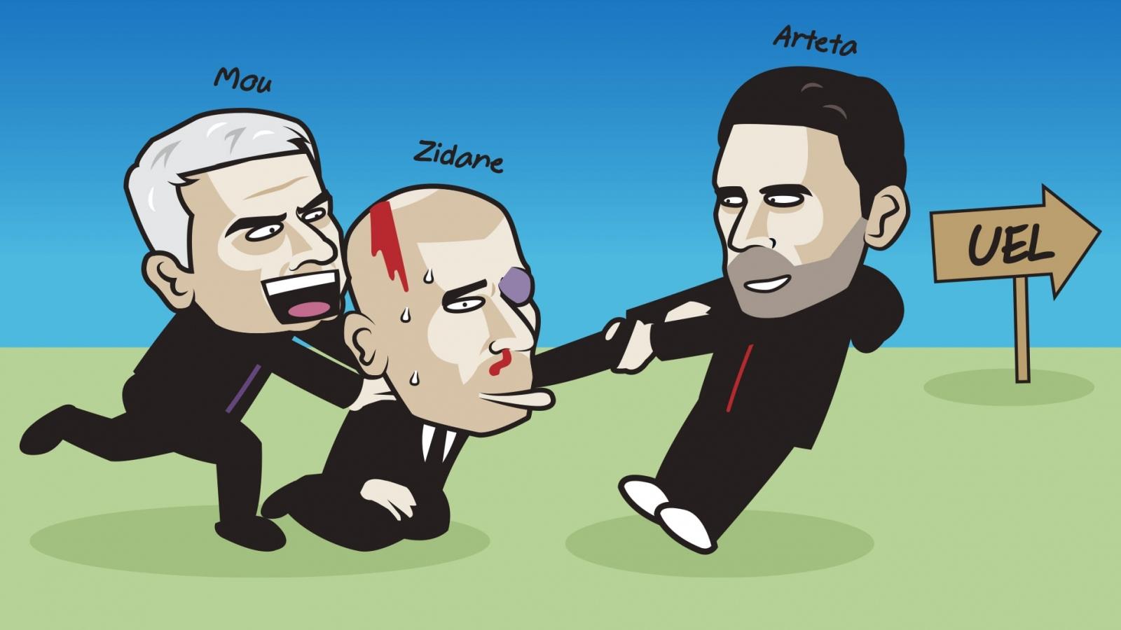 Biếm họa 24h: Mourinho mời gọi Zidane xuống chơi Europa League