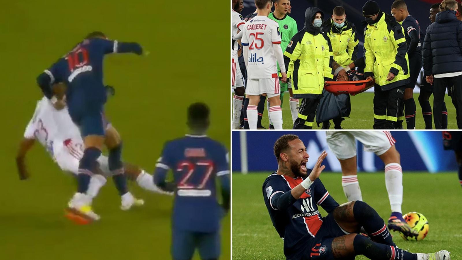 Dính đòn triệt hạ của đồng hương, Neymar đau đớn rời sân trên cáng