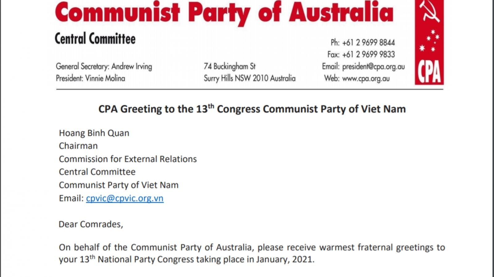 Đảng Cộng sản Australia gửi thư chúc mừng Đại hội XIII của Đảng CSVN