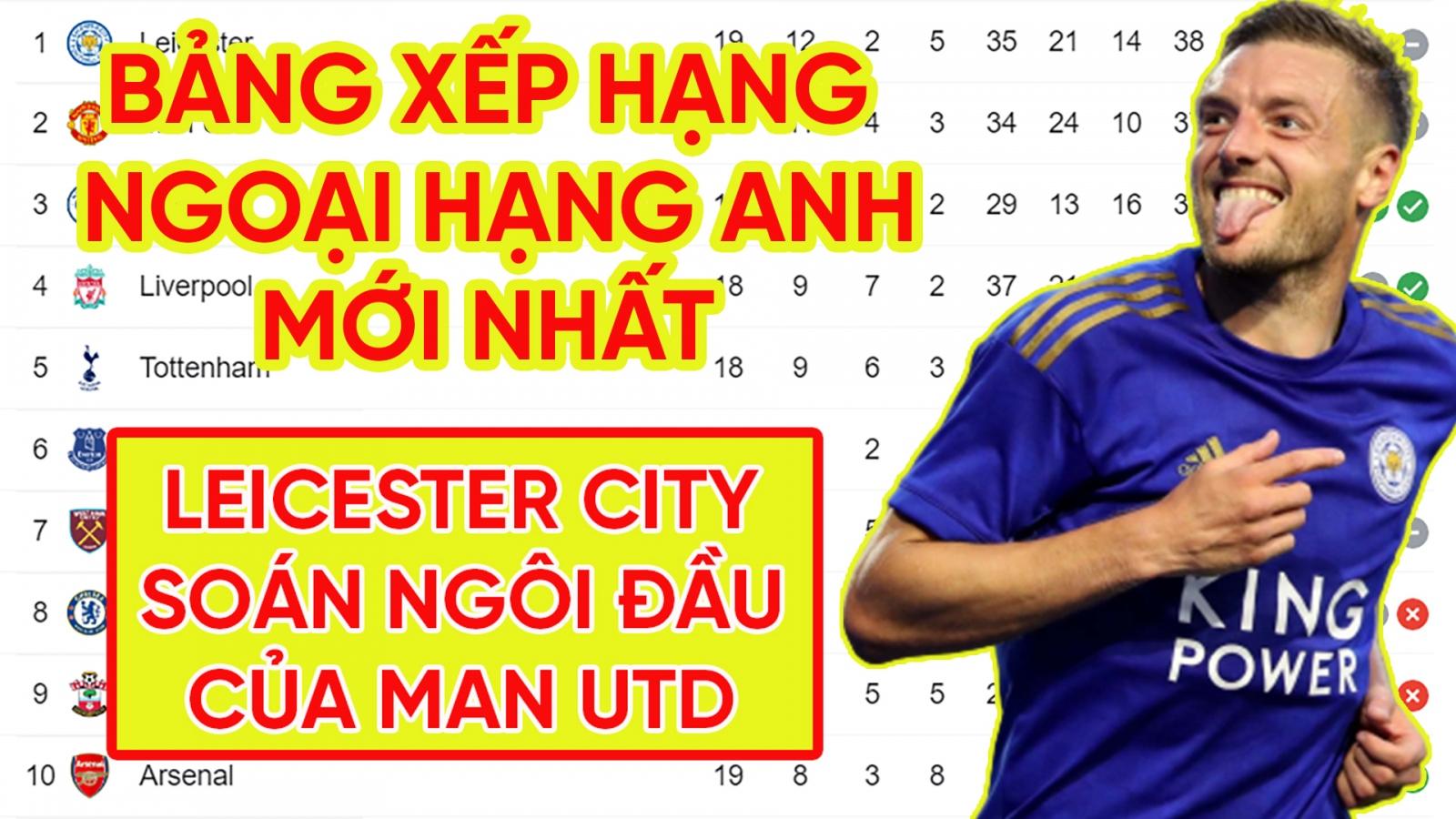 Bảng xếp hạng Ngoại hạng Anh mới nhất: Leicester City chiếm ngôi đầu của MU