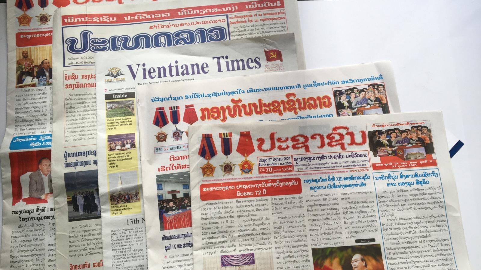 Truyền thông Lào đồng loạt đưa tinvề Đại hội lần thứ XIII Đảng Cộng sản Việt Nam