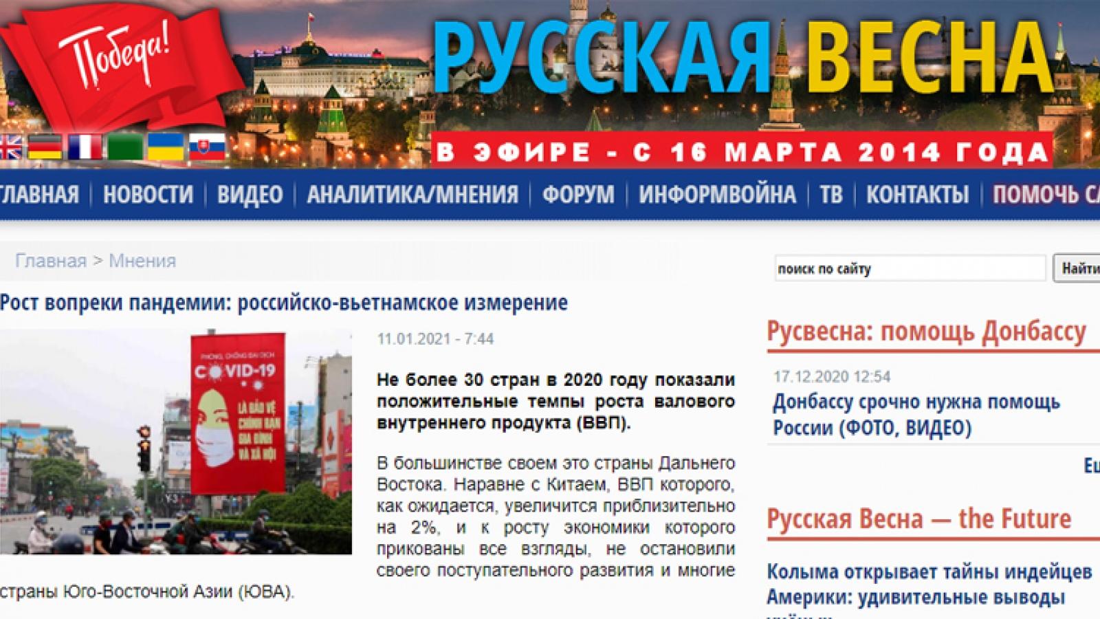 Russian paper highlights impressive Vietnamese economic growth