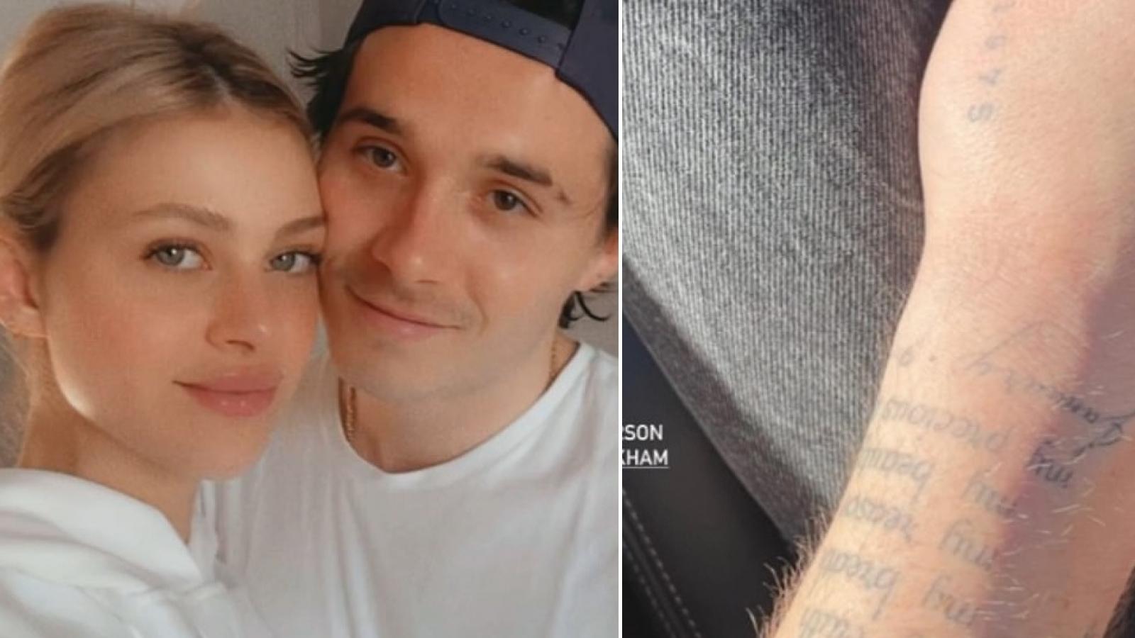 Con trai David Beckham thể hiện tình cảm với vợ sắp cưới bằng loạt hình xăm mới
