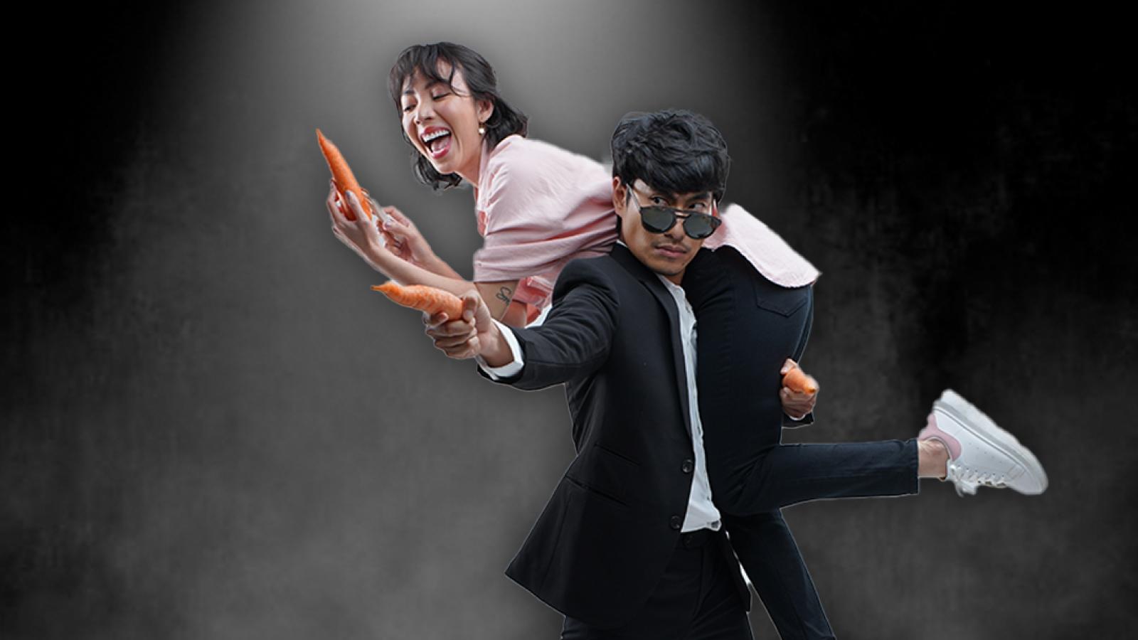 """Thu Trang hóa """"bà cô ế"""" bế Kiều Minh Tuấn chạy trốn trong phim mới"""