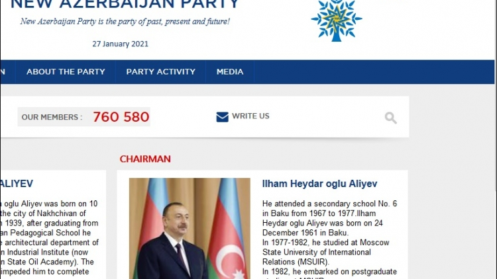 Tổng thống Azerbaijan chúc mừng Đại hội XIII Đảng Cộng sản Việt Nam