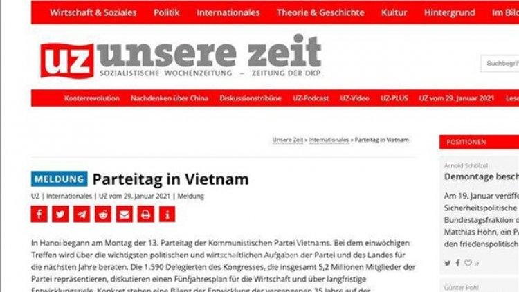 13th National Party Congress decides Vietnam's most important tasks: German newspaper